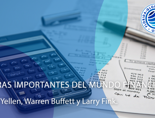 Figuras importantes del mundo financiero: Janet Yellen, Warren Buffett y Larry Fink.
